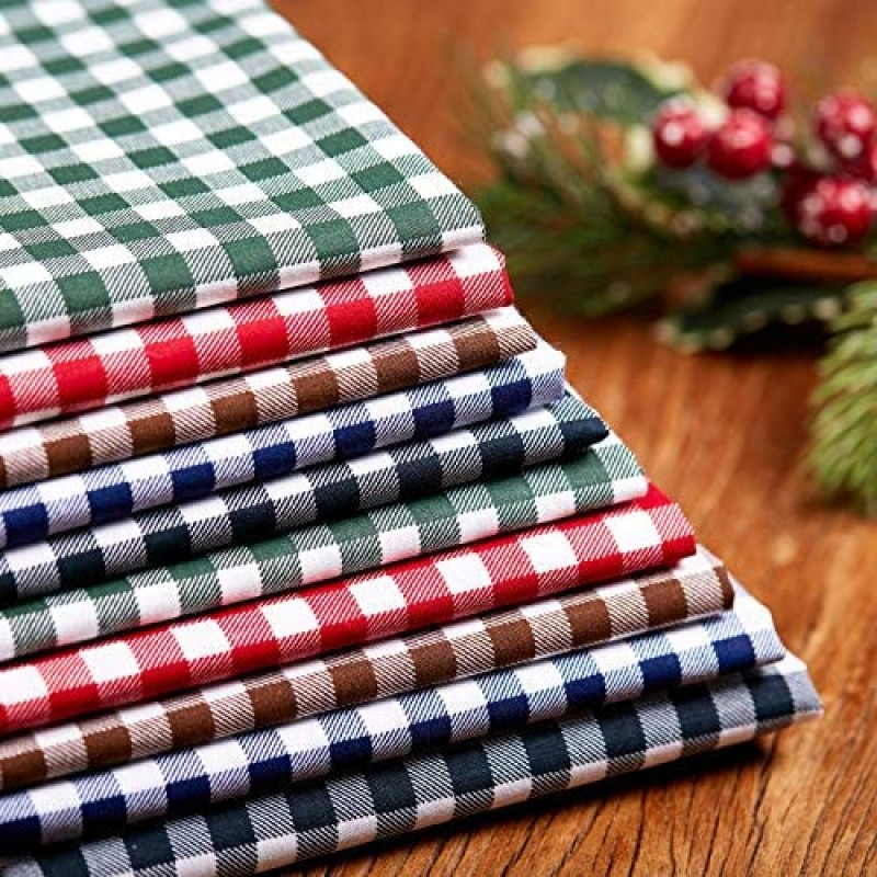 10 Pieces 20 x 20 Inch Christmas Buffalo Plaid Cotton Fabric 5 Colors Christmas Printing Quilting Fabric Squares Black and White Plaid Sewing Patchwork Fabric Christmas DIY Fabric for Craft Supplies