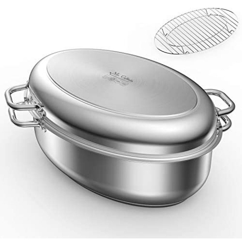 roasters Roasting Pan with Rack and Lid 12 Quart,18/10 Stainless Steel Multi-Use Oval Turkey Roaster, Induction Compatible Dishwasher/Oven Safe Roaster,17 Inch