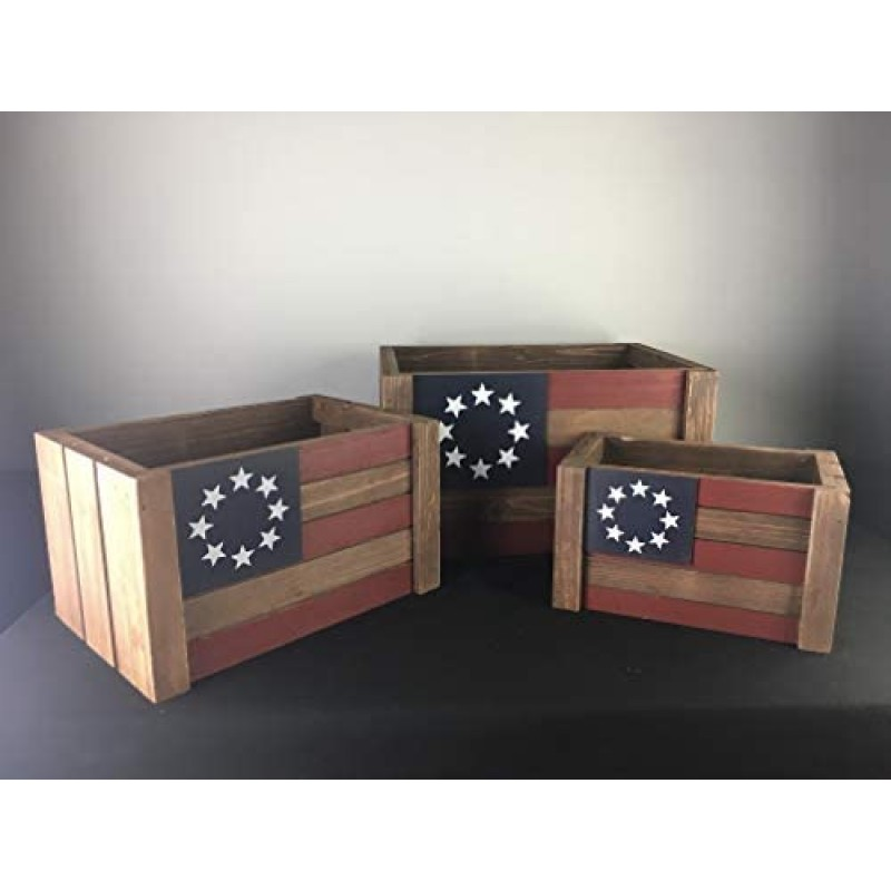 Crates [wooden boxes] Designs Rustic Wood Nesting Crates with Handles Decorative Farmhouse Wooden Storage Container Home Decorative Large American Flag Wood Storage Crates