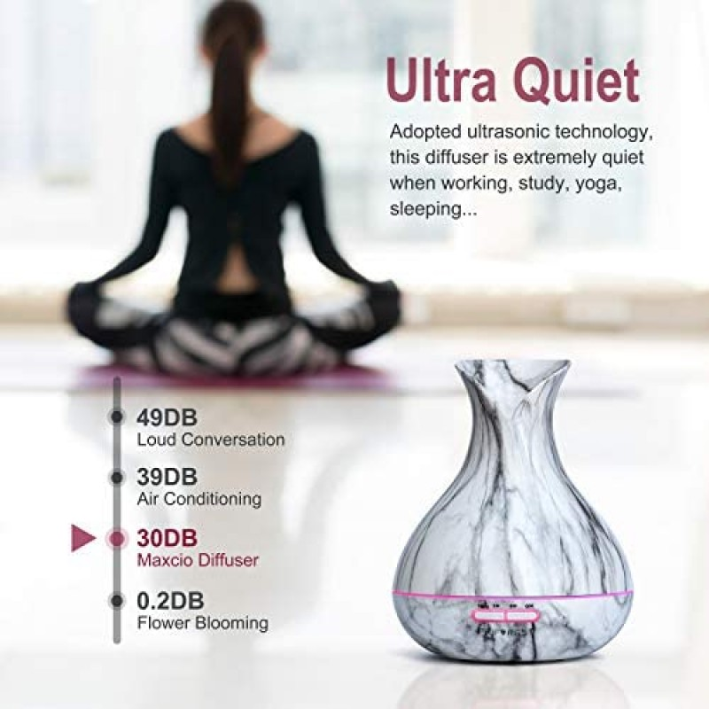 Power-operated vaporizers  USB Ultimate Diffusers for Essential Oils, 400ml Ultrasonic Aromatherapy Oil Humidifier Vaporizer, 4 Timer and Auto-Off, 7 Ambient Light Settings for Home, Office, Spa, Study (Marble White)