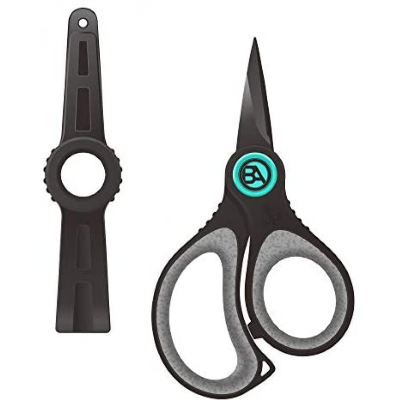 Fishing line cutters Fishing Braid Line Scissors, Super Sharp Japanese Stainless Steel Blades with Micro Serrated Cutters, w/Sheath, Non-Slip TPR Handles, Includes Lanyard