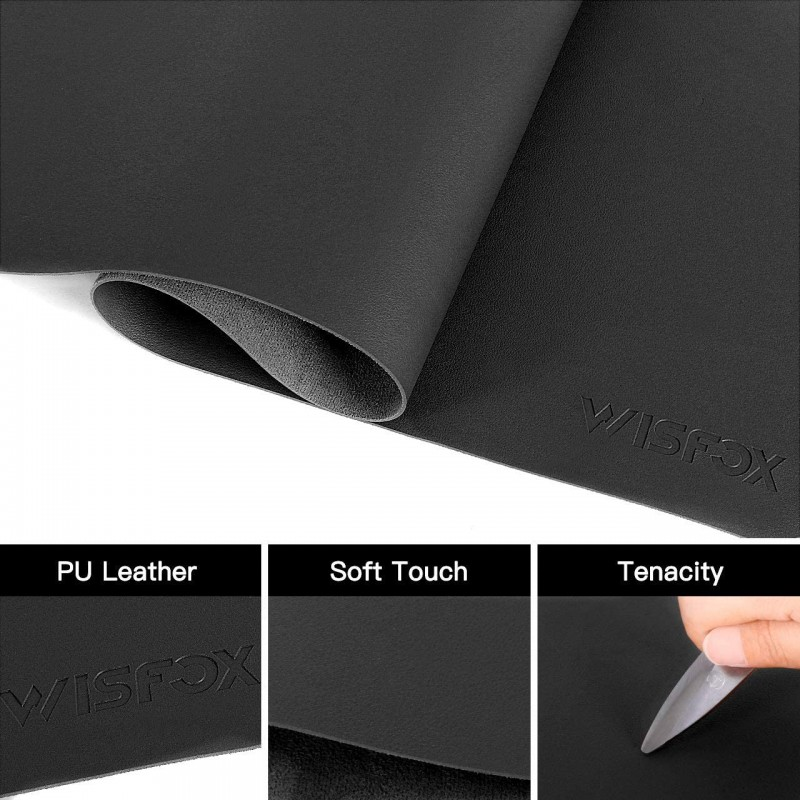 "mouse mats  PU Leather Desk Pad, Large Mouse Pad, Non-Slip Office Laptop Desk Mat, 31.5"" x 15.7"" Waterproof Desk Blotter Protector Desk Writing Mat for Home Office Decor (Black)"