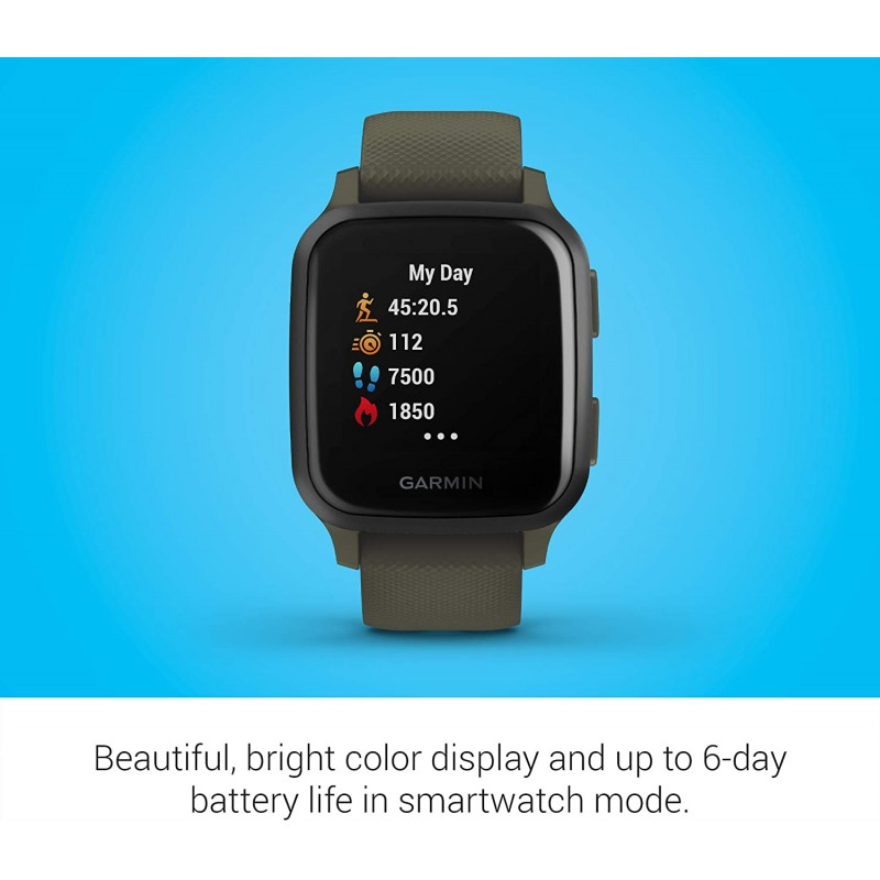 smartwatches Venu Sq Music, GPS Smartwatch with Bright Touchscreen Display, Features Music and Up to 6 Days of Battery Life, Slate and Moss Green