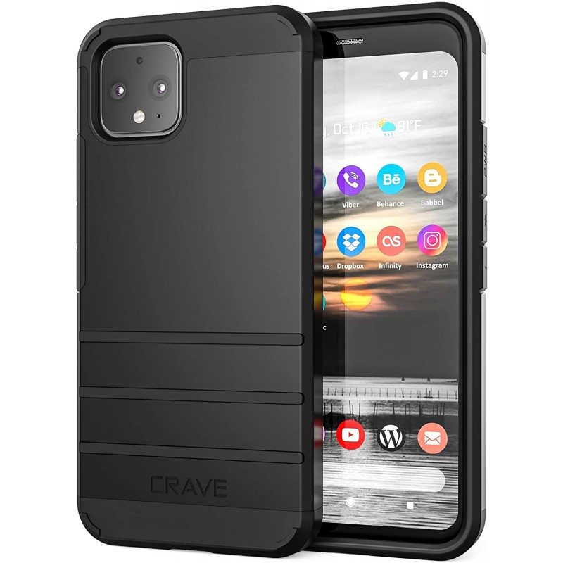 Cases for smartphones  Pixel 4 Case, Strong Guard Heavy-Duty Protection Series Case for Google Pixel 4 - Black
