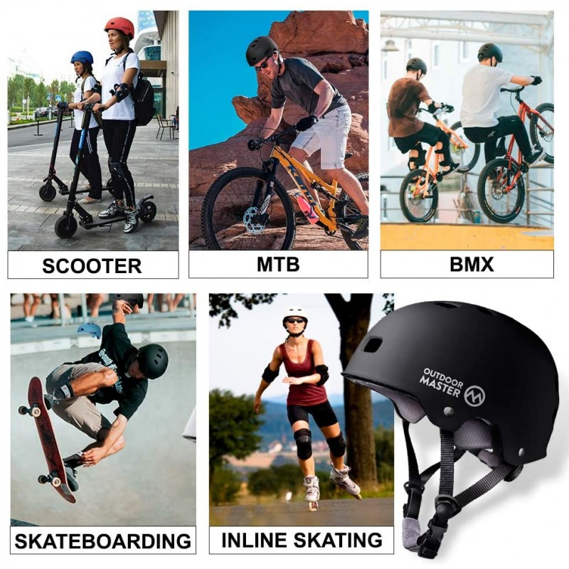 crash helmets  Skateboard Cycling Helmet - Two Removable Liners Ventilation Multi-Sport Scooter Roller Skate Inline Skating Rollerblading for Kids, Youth & Adults  Red