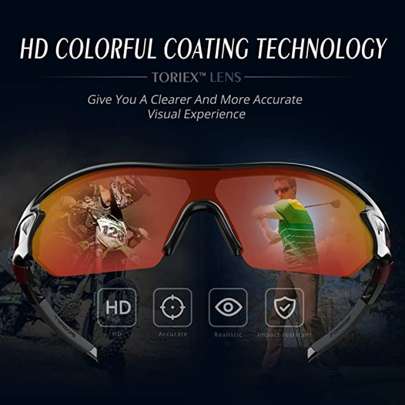 sports glasses  Polarized Sports Sunglasses With 3 Interchangeable Lenes for Men Women Cycling Running Driving Fishing Glasses TR002