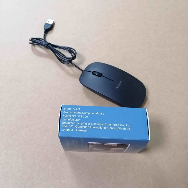 Ailezt  Corded Mouse – Wired USB Mouse for Computers and laptops, for Right or Left Hand Use, Black
