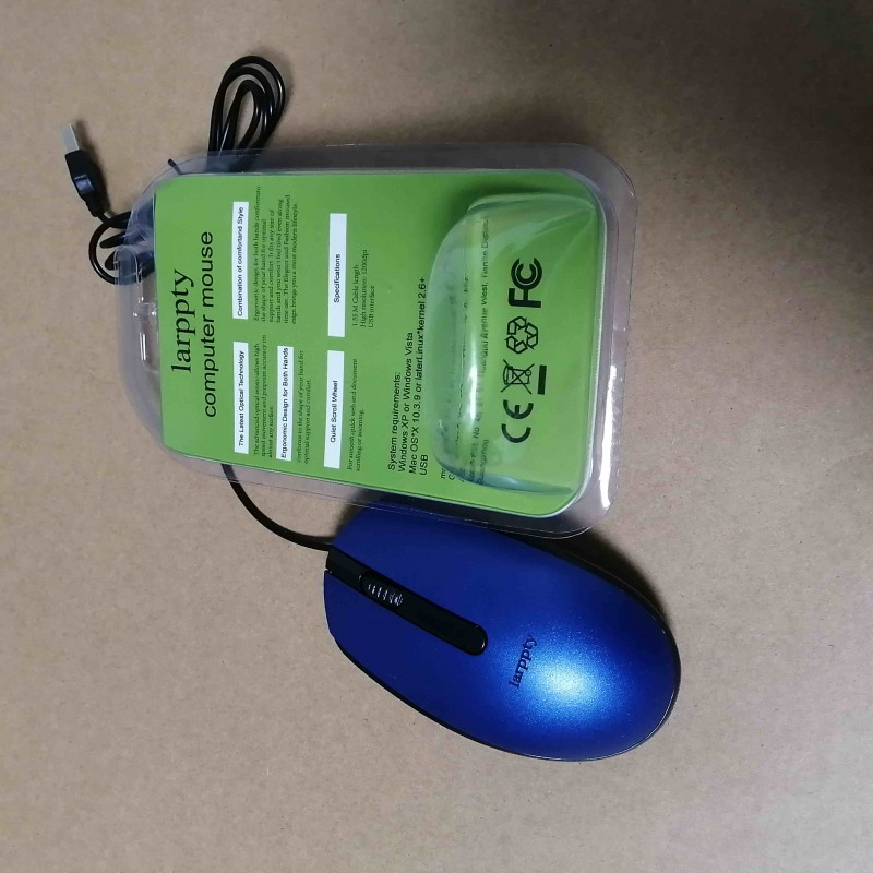 larppty Corded Mouse – Wired USB Mouse for Computers and laptops, for Right or Left Hand Use, blue