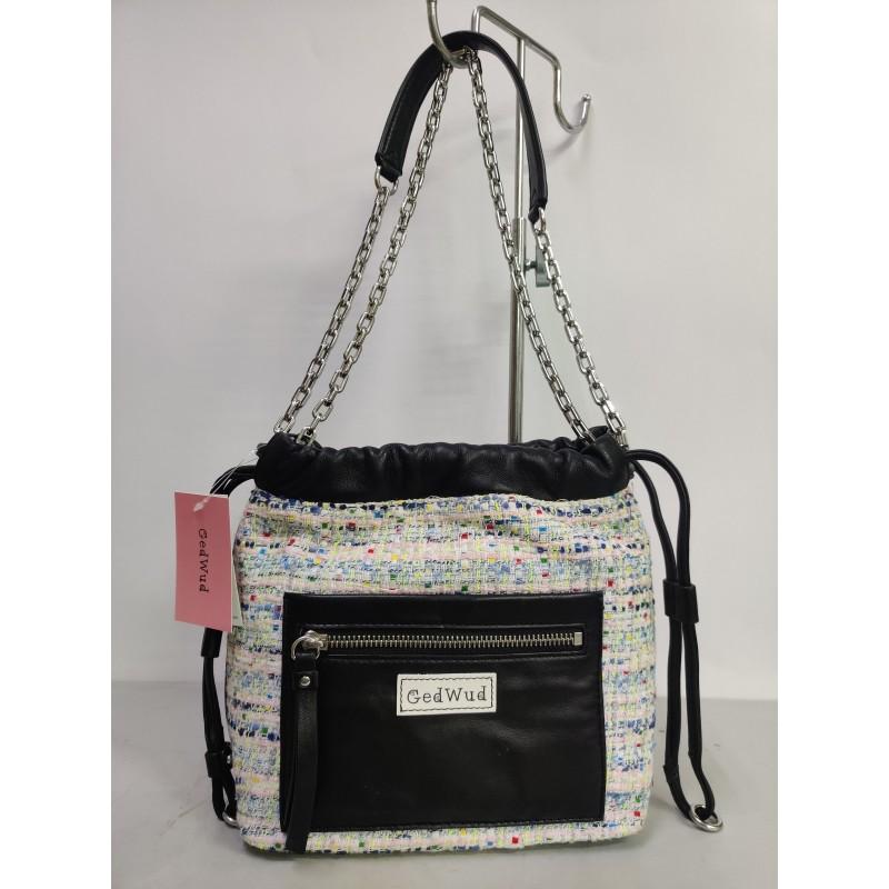 GedWud Women's shoulder bag metal chain strap side...