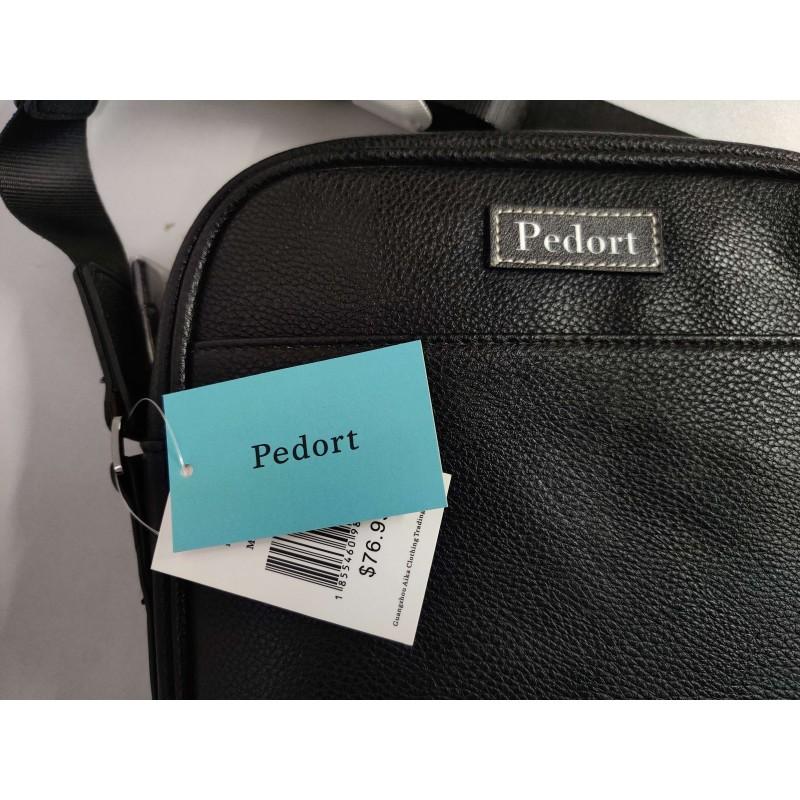 Pedort Men's solid color black exquisite double zipper shoulder bag with detachable strap