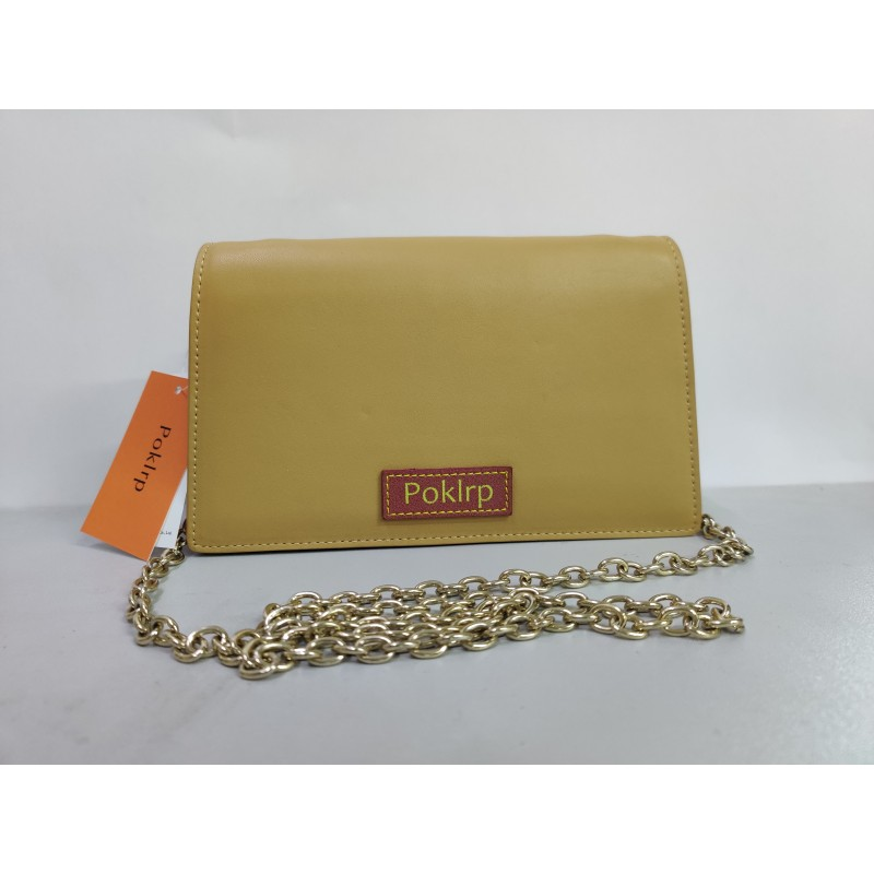 Poklrp Ladies pure color yellow exquisite shoulder bag with detachable strap