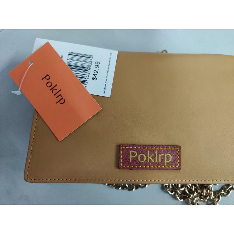 Poklrp Ladies pure color yellow exquisite shoulder bag with detachable strap