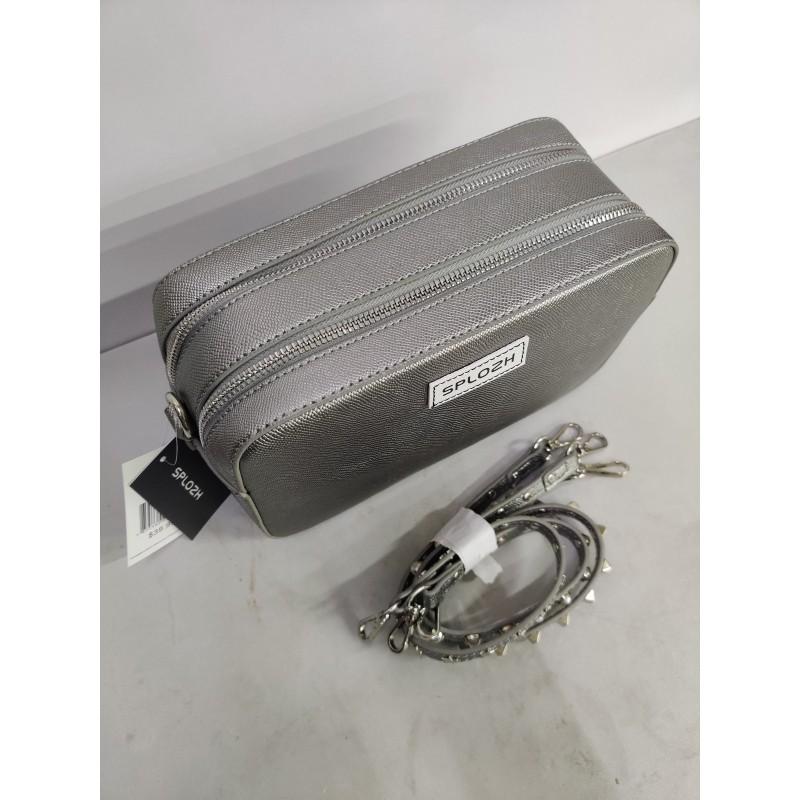 Splozh Women's solid color gray exquisite double zipper shoulder bag with detachable strap