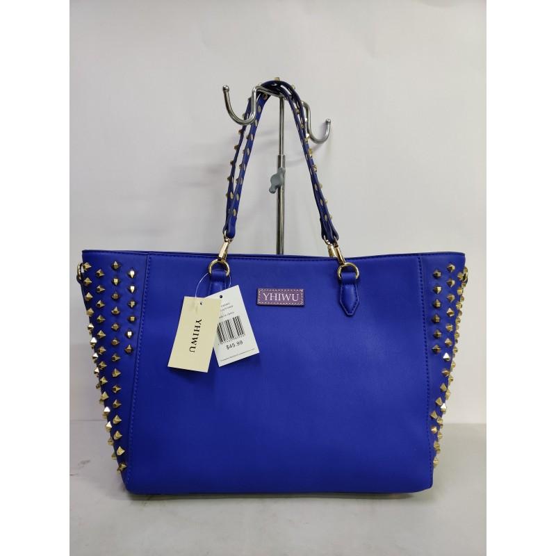 YHIWU Ladies handbag blue rivets