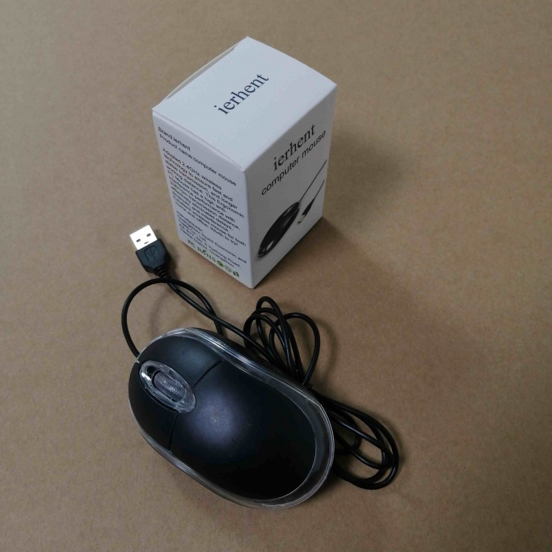 ierhent Corded Mouse – Wired USB Mouse For Computers And Laptops, For Right Or Left Hand Use, Black
