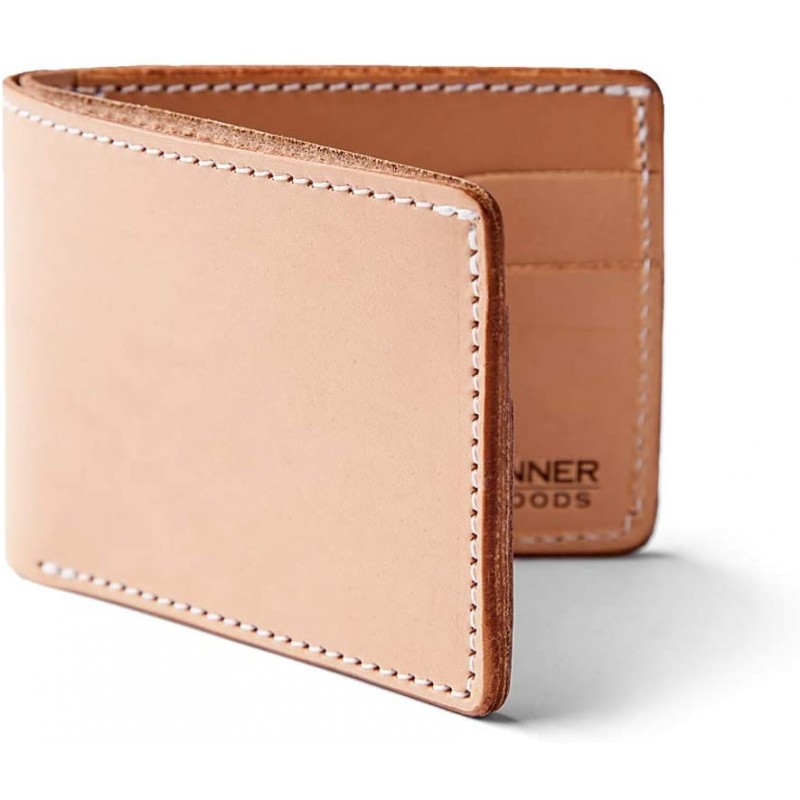 Tanner Goods | Utility Bifold Traditional 4 Card Slot Wallet, Natural Tooling Leather