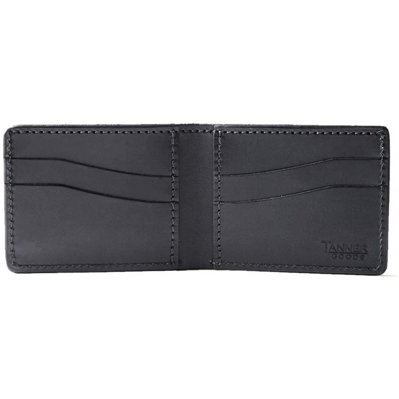 Tanner Goods | Utility Bifold Traditional 4 Card Slot Wallet, Black English Bridle Leather