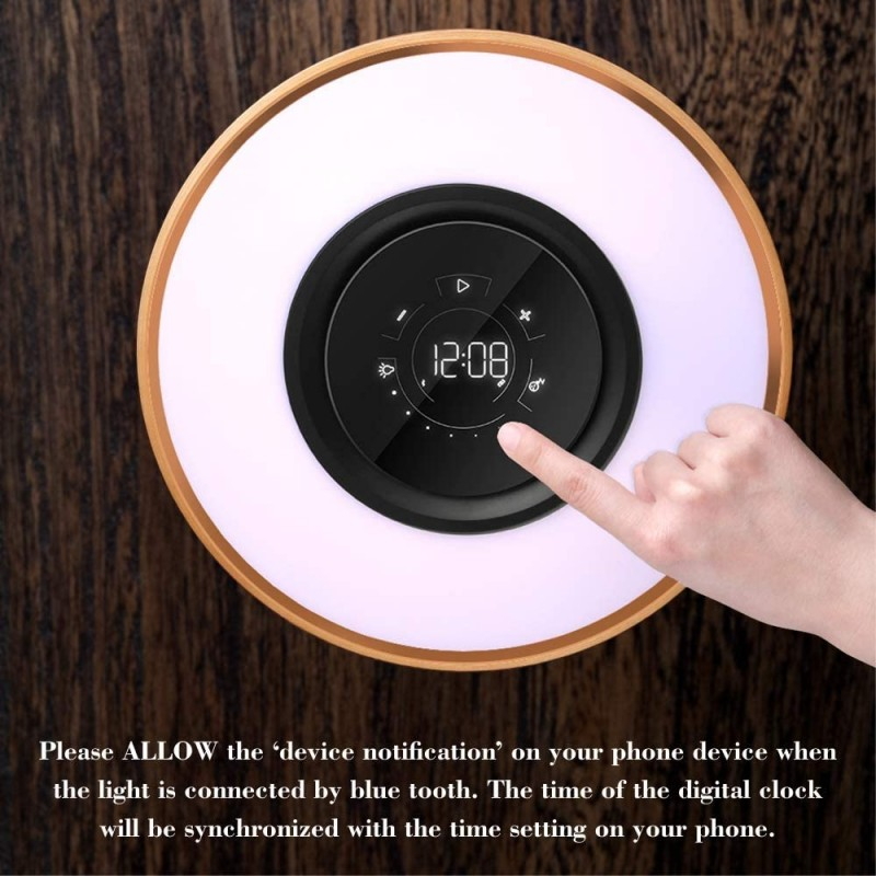 Bedside Dimmable Lamp, Focondot Touch Lamp Built-in Bluetooth Speaker and Fast Wireless Charger, Multi-Function Maple Nightstand Lamp with Sleep Mode and Digital Clock for Bedroom,Living Room