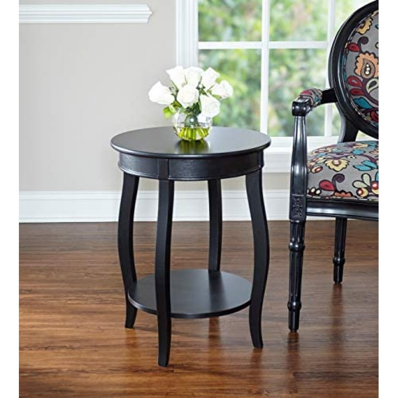 Powell Furniture Round Table with Shelf, Black