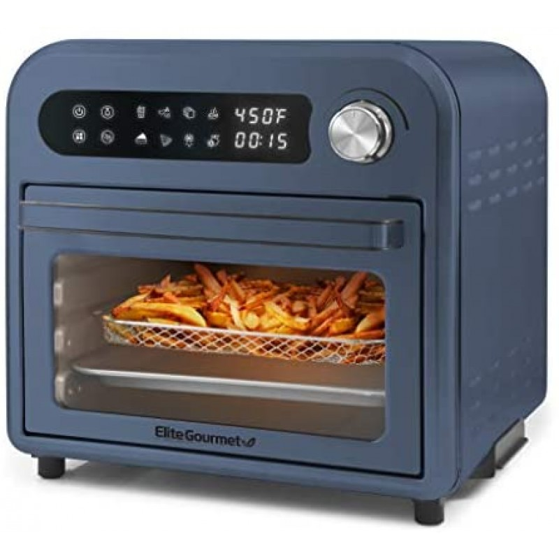 Elite Gourmet Maxi-Matic EAF1010D Programmable 10L Fryer Convection Countertop Oven, Temperature + Timer Controls, Bake, Toast, Broil, Air Fry, 10.5 Qt, Stainless Steel